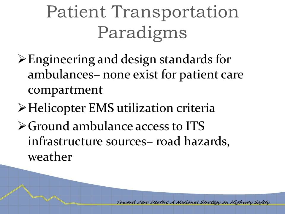 Patient Transportation Paradigms  Engineering and design standards for ambulances– none exist for patient care compartment  Helicopter EMS utilization criteria  Ground ambulance access to ITS infrastructure sources– road hazards, weather