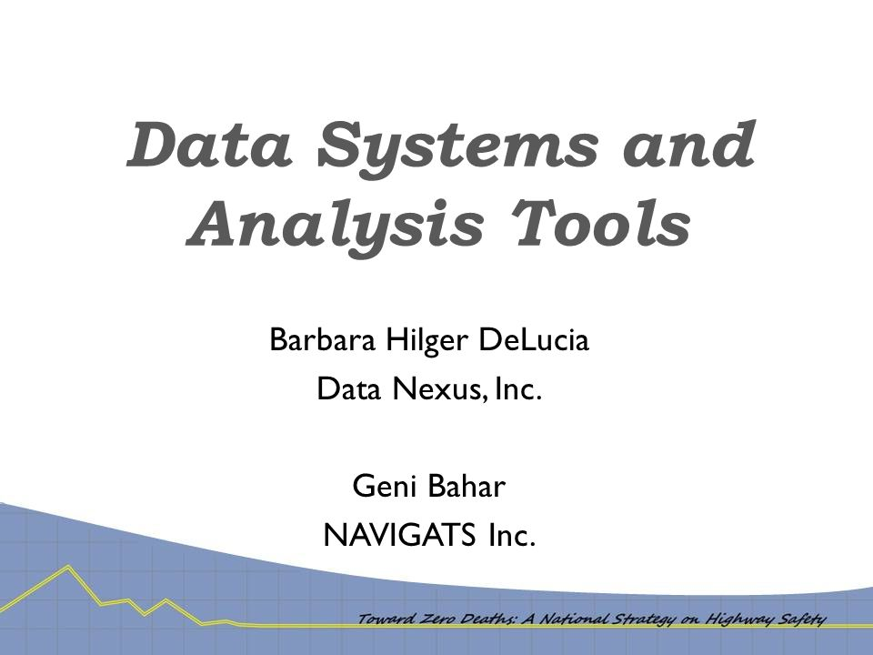 Data Systems and Analysis Tools Barbara Hilger DeLucia Data Nexus, Inc. Geni Bahar NAVIGATS Inc.