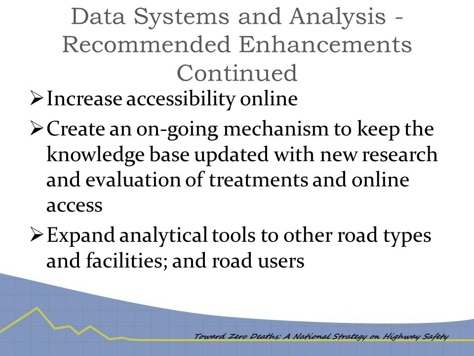 Data Systems and Analysis - Recommended Enhancements Continued  Increase accessibility online  Create an on-going mechanism to keep the knowledge base updated with new research and evaluation of treatments and online access  Expand analytical tools to other road types and facilities; and road users