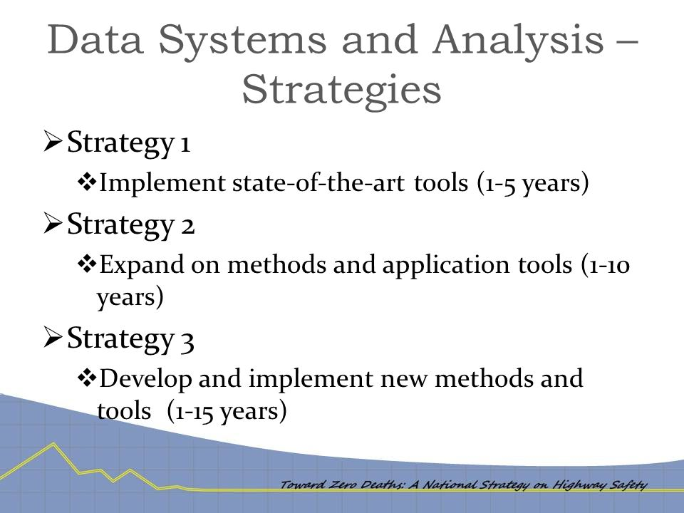 Data Systems and Analysis – Strategies  Strategy 1  Implement state-of-the-art tools (1-5 years)  Strategy 2  Expand on methods and application to