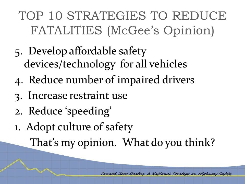 TOP 10 STRATEGIES TO REDUCE FATALITIES (McGee's Opinion) 5. Develop affordable safety devices/technology for all vehicles 4. Reduce number of impaired