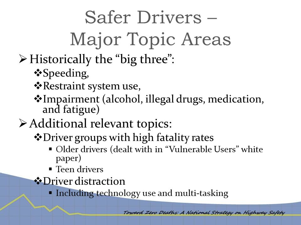 "Safer Drivers – Major Topic Areas  Historically the ""big three"":  Speeding,  Restraint system use,  Impairment (alcohol, illegal drugs, medication"