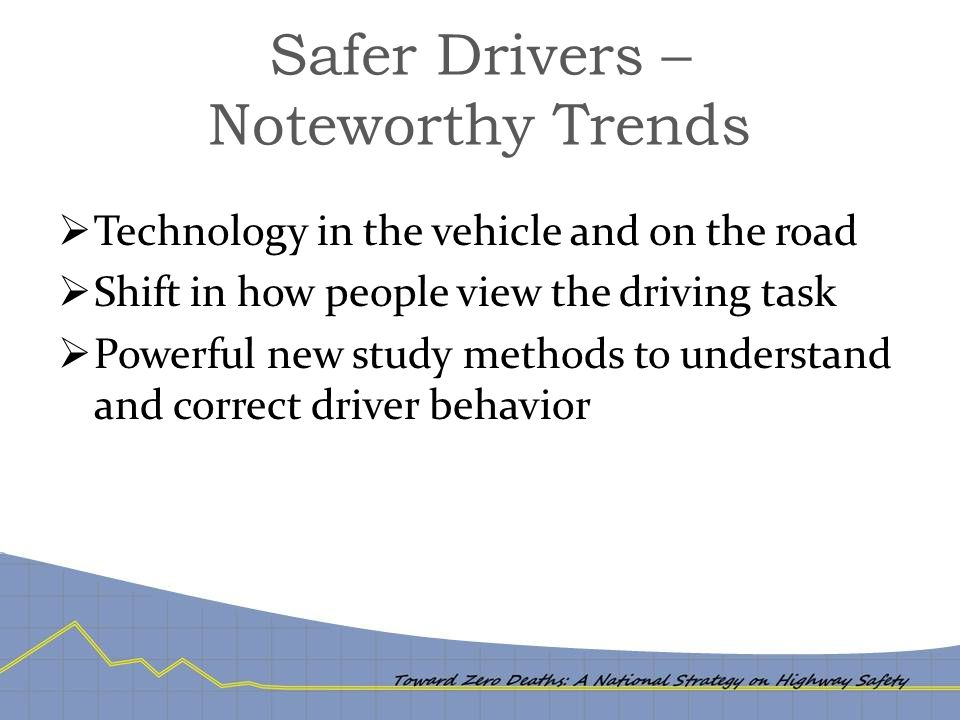 Safer Drivers – Noteworthy Trends  Technology in the vehicle and on the road  Shift in how people view the driving task  Powerful new study methods to understand and correct driver behavior