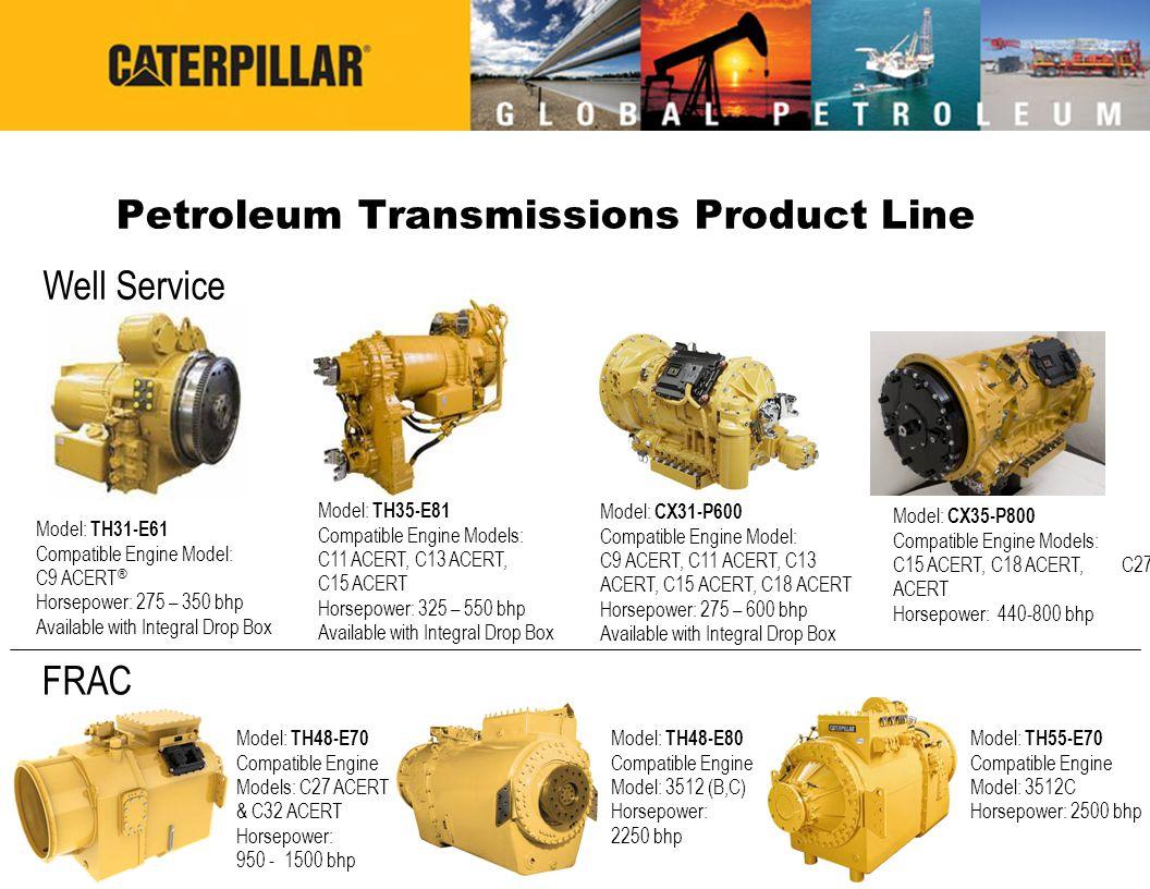 Cat ® Transmission Sales Model Naming  TH48-E80 –T = TBU Transmission –H = Hauling Transmission (load carried a long distance; e.g.