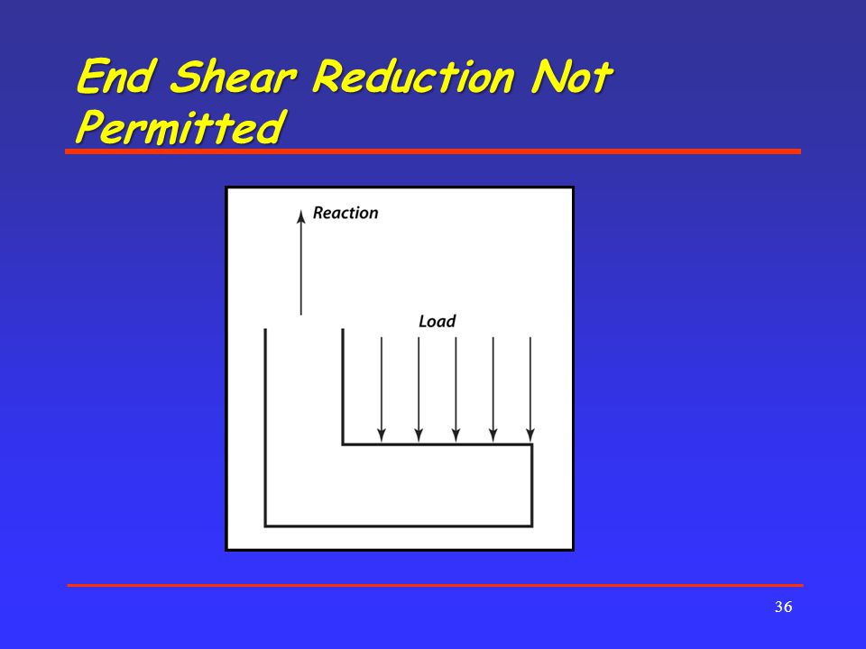 End Shear Reduction Not Permitted 36