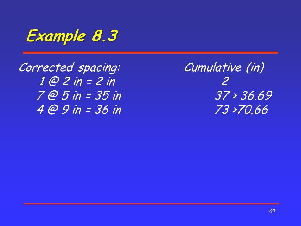 Example 8.3 67 Corrected spacing:Cumulative (in) 1 @ 2 in = 2 in 2 7 @ 5 in = 35 in37 > 36.69 4 @ 9 in = 36 in73 >70.66