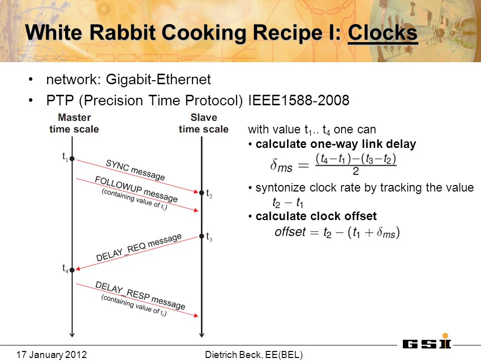 17 January 2012Dietrich Beck, EE(BEL) White Rabbit Cooking Recipe I: Clocks network: Gigabit-Ethernet PTP (Precision Time Protocol) IEEE1588-2008 with value t 1..