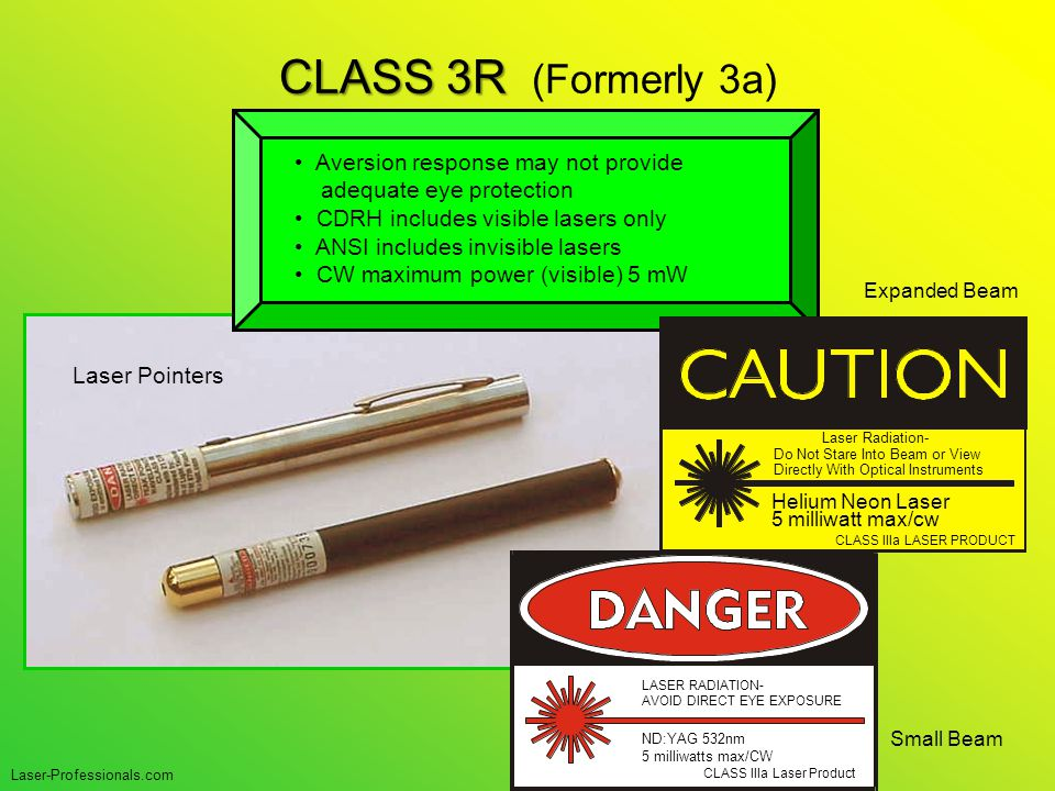 CLASS 3R CLASS 3R (Formerly 3a) Small Beam Expanded Beam CLASS IIIa Laser Product LASER RADIATION- AVOID DIRECT EYE EXPOSURE ND:YAG 532nm 5 milliwatts