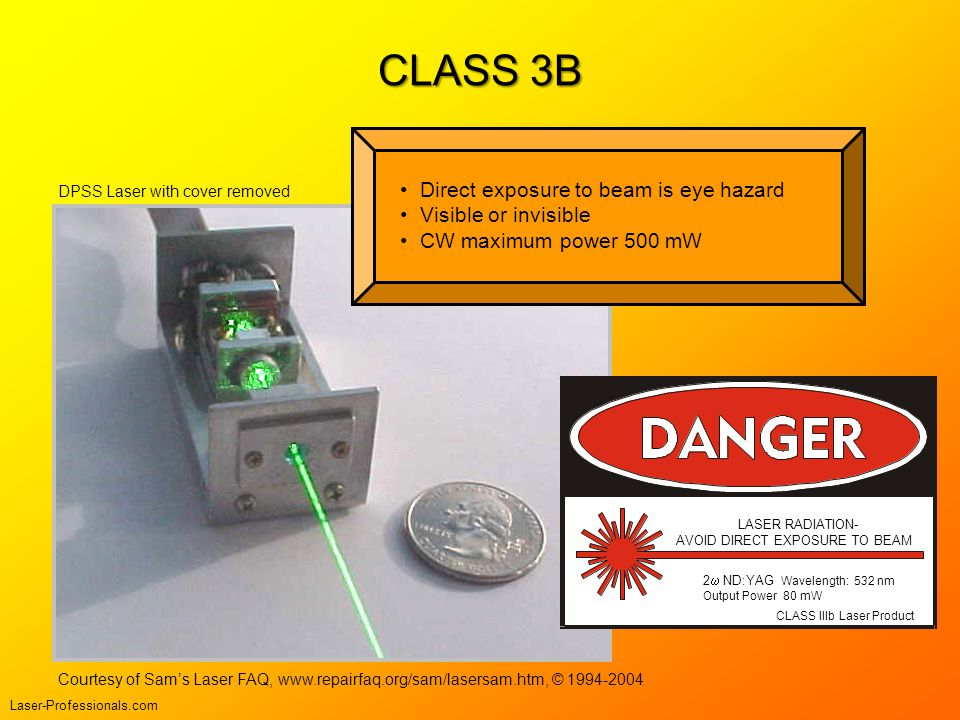 CLASS 3B Direct exposure to beam is eye hazard Visible or invisible CW maximum power 500 mW CLASS IIIb Laser Product LASER RADIATION- AVOID DIRECT EXP