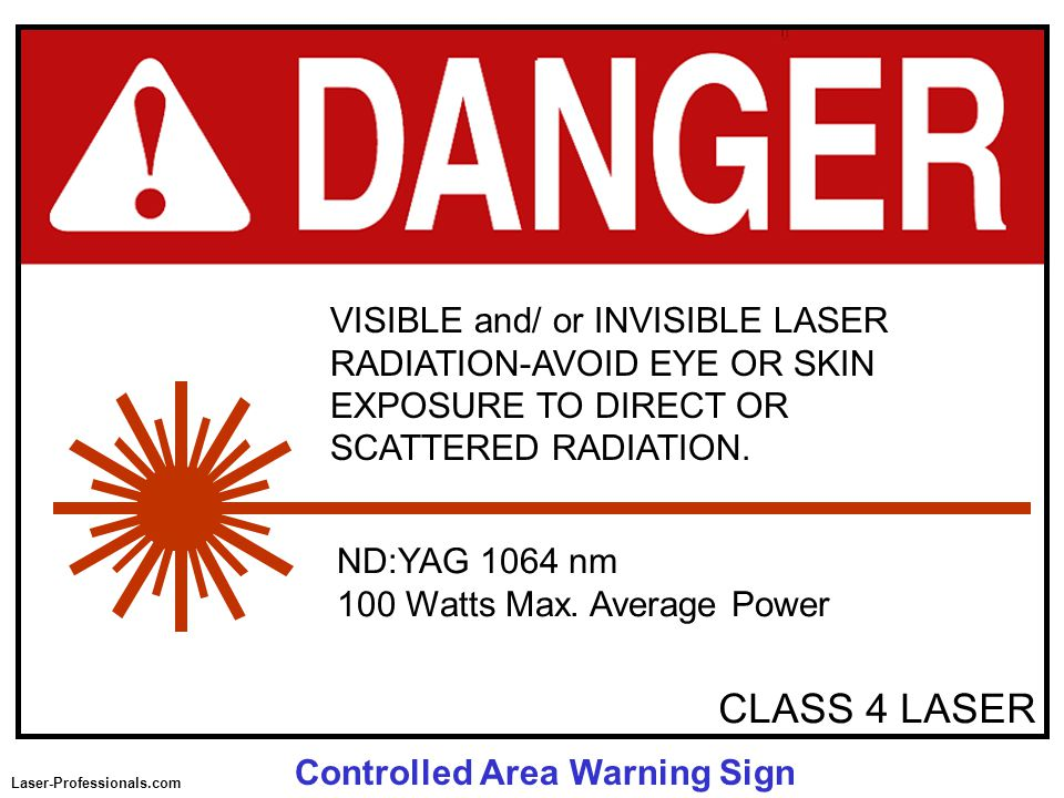 CLASS 4 LASER ND:YAG 1064 nm 100 Watts Max. Average Power VISIBLE and/ or INVISIBLE LASER RADIATION-AVOID EYE OR SKIN EXPOSURE TO DIRECT OR SCATTERED