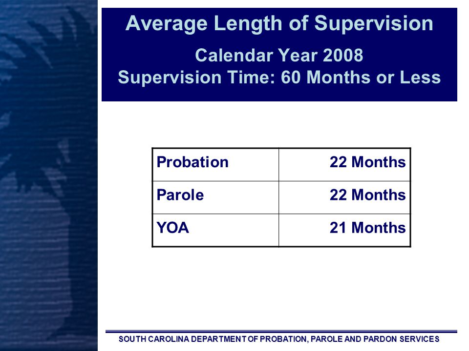 SOUTH CAROLINA DEPARTMENT OF PROBATION, PAROLE AND PARDON SERVICES Average Length of Supervision Calendar Year 2008 Supervision Time: 60 Months or Less Probation22 Months Parole22 Months YOA21 Months