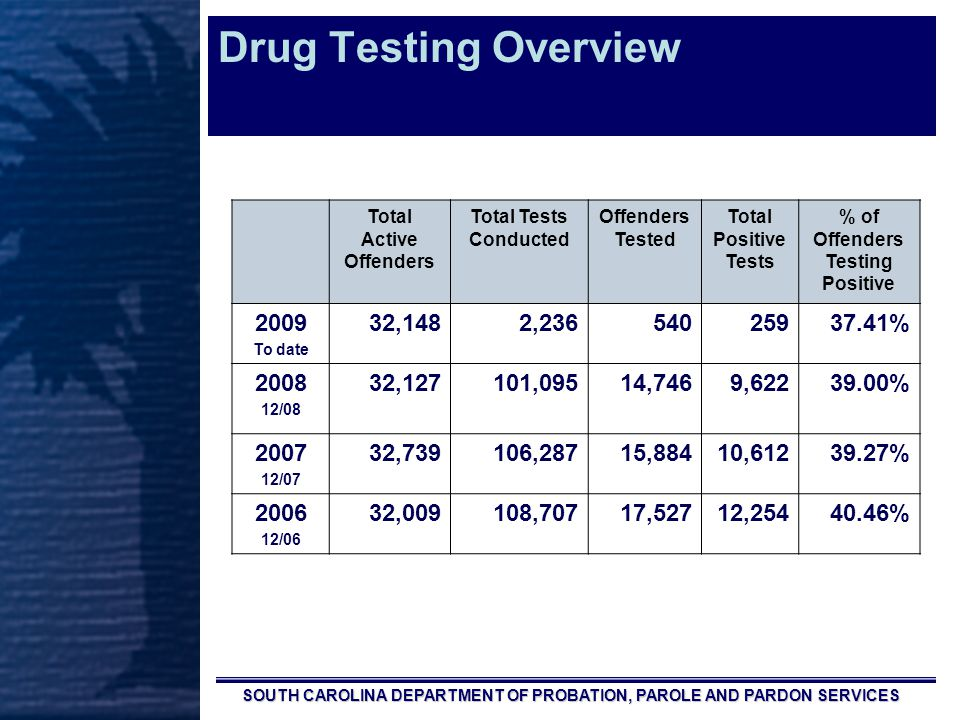 SOUTH CAROLINA DEPARTMENT OF PROBATION, PAROLE AND PARDON SERVICES Drug Testing Overview Total Active Offenders Total Tests Conducted Offenders Tested Total Positive Tests % of Offenders Testing Positive 2009 To date 32,1482,23654025937.41% 2008 12/08 32,127101,09514,7469,62239.00% 2007 12/07 32,739106,28715,88410,61239.27% 2006 12/06 32,009108,70717,52712,25440.46%