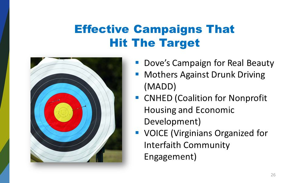 Effective Campaigns That Hit The Target  Dove's Campaign for Real Beauty  Mothers Against Drunk Driving (MADD)  CNHED (Coalition for Nonprofit Housing and Economic Development)  VOICE (Virginians Organized for Interfaith Community Engagement) 26