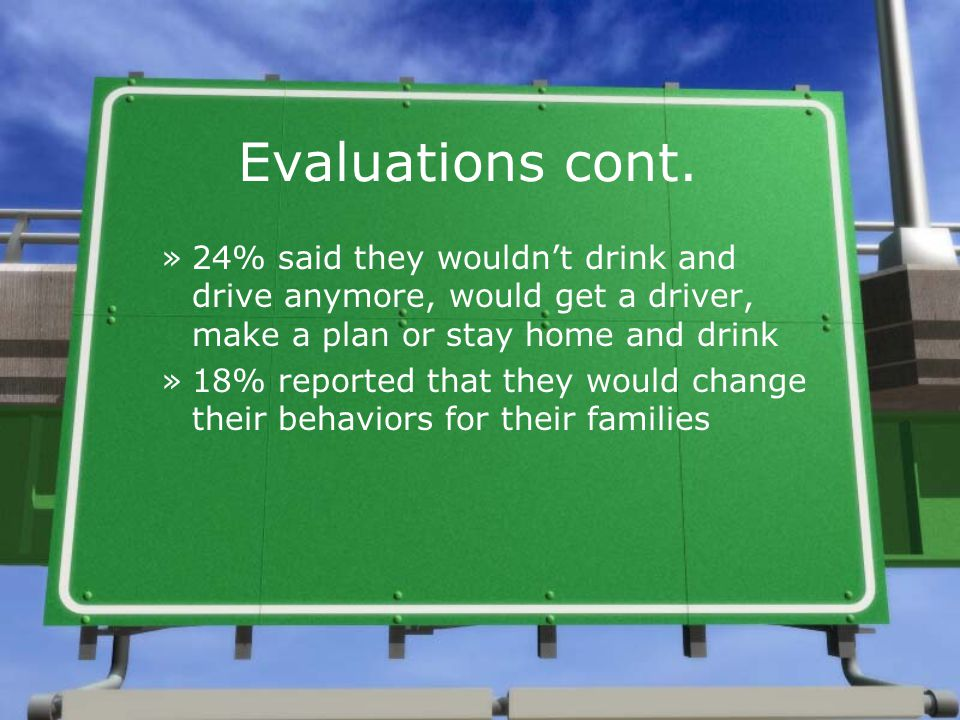 Evaluations cont. »24% said they wouldn't drink and drive anymore, would get a driver, make a plan or stay home and drink »18% reported that they woul