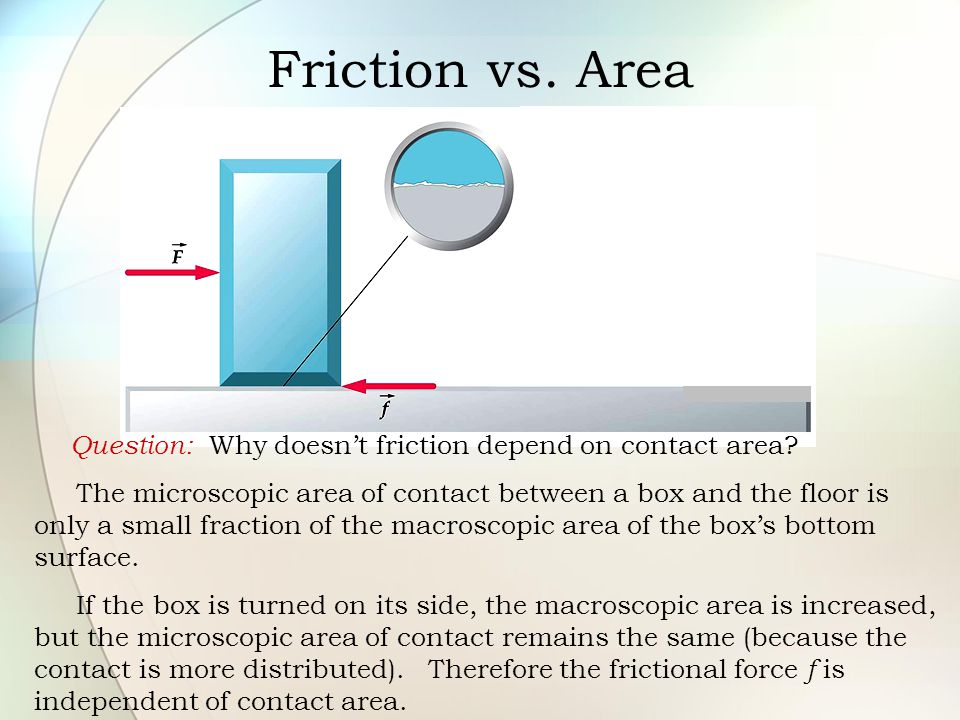 Friction vs. Area Question: Why doesn't friction depend on contact area? The microscopic area of contact between a box and the floor is only a small f