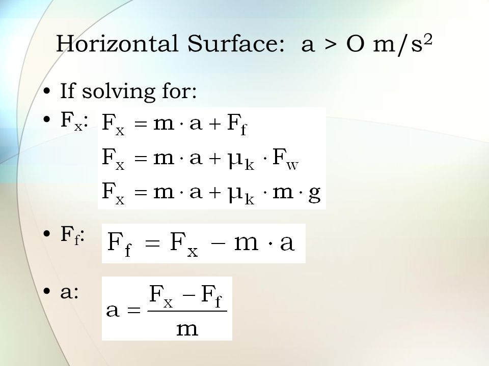 If solving for: F x : F f : a: