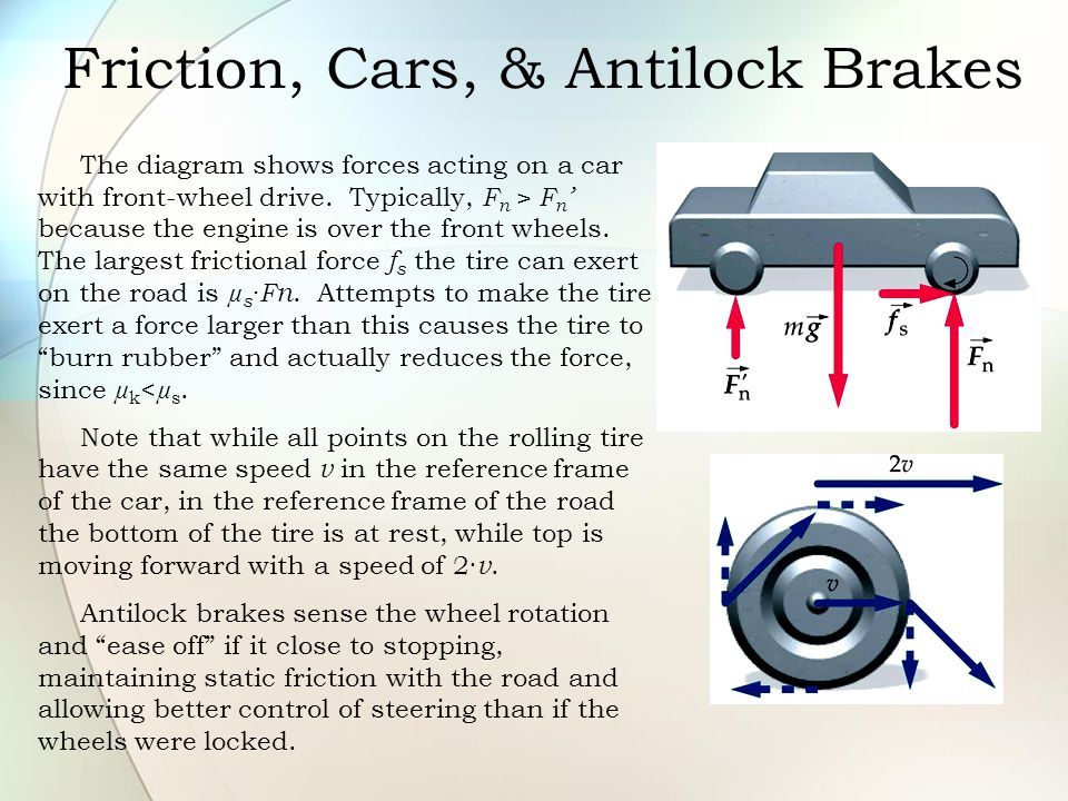 Friction, Cars, & Antilock Brakes The diagram shows forces acting on a car with front-wheel drive. Typically, F n > F n ' because the engine is over t