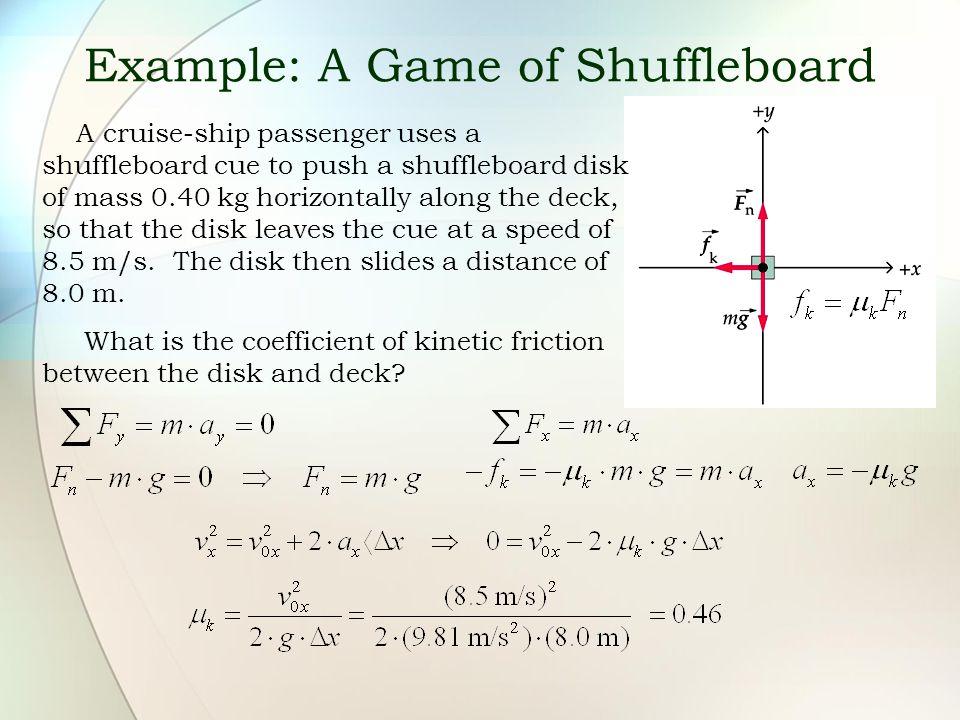 Example: A Game of Shuffleboard A cruise-ship passenger uses a shuffleboard cue to push a shuffleboard disk of mass 0.40 kg horizontally along the dec