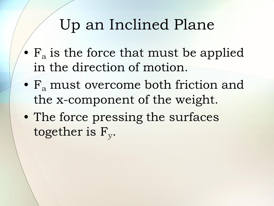 Up an Inclined Plane F a is the force that must be applied in the direction of motion. F a must overcome both friction and the x-component of the weig