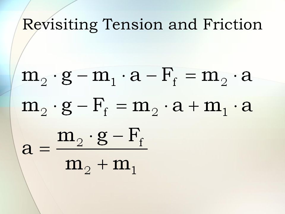 Revisiting Tension and Friction
