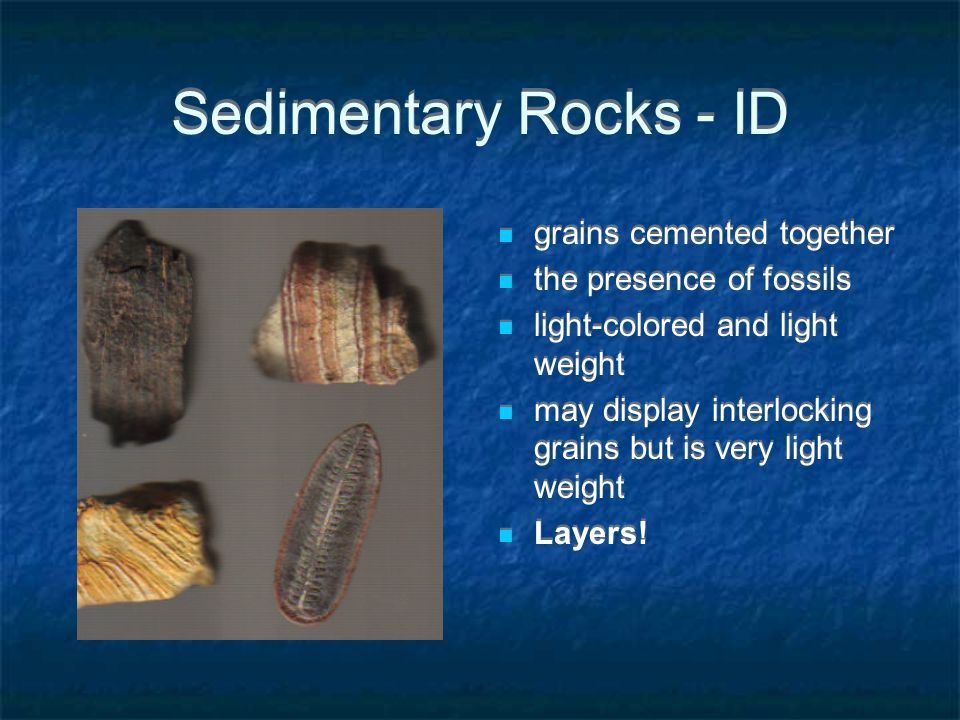 Sedimentary Rocks - ID grains cemented together the presence of fossils light-colored and light weight may display interlocking grains but is very light weight Layers!