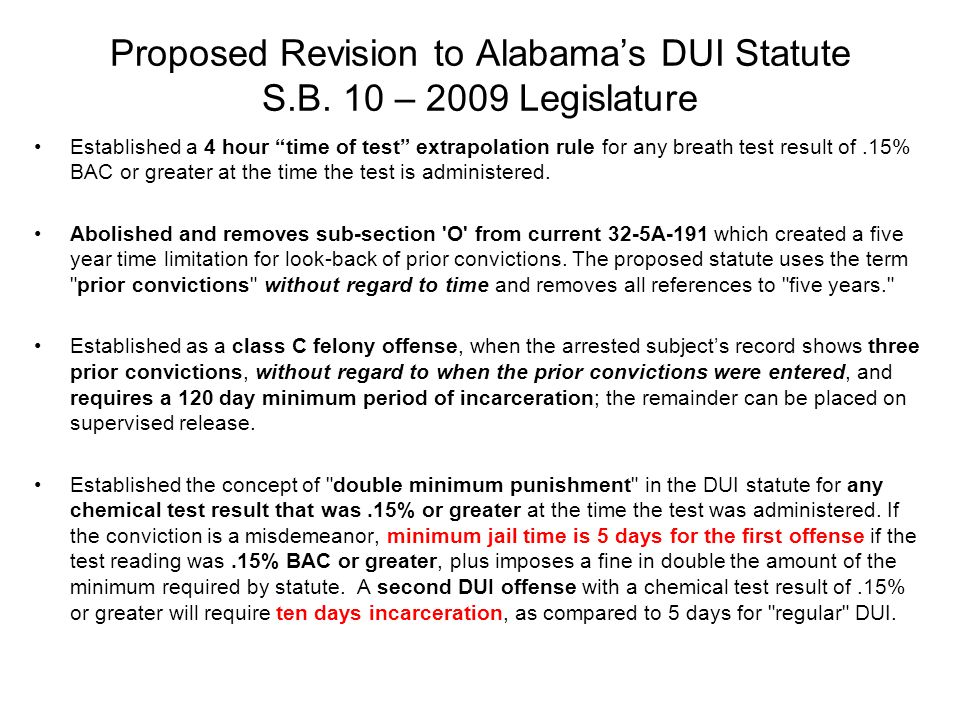 Proposed Revision to Alabama's DUI Statute S.B.