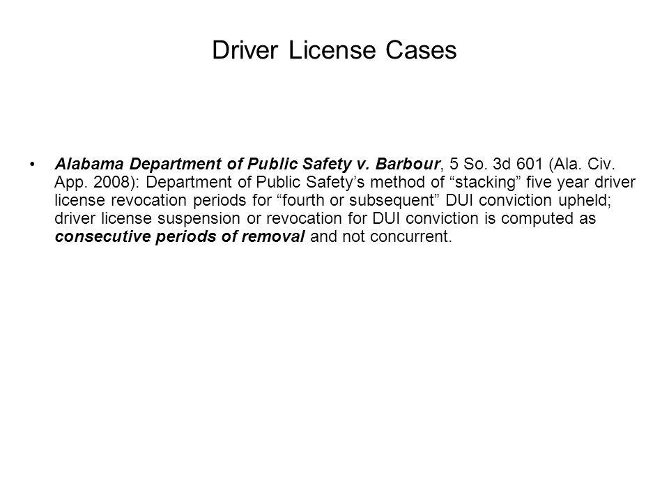 Driver License Cases Alabama Department of Public Safety v.