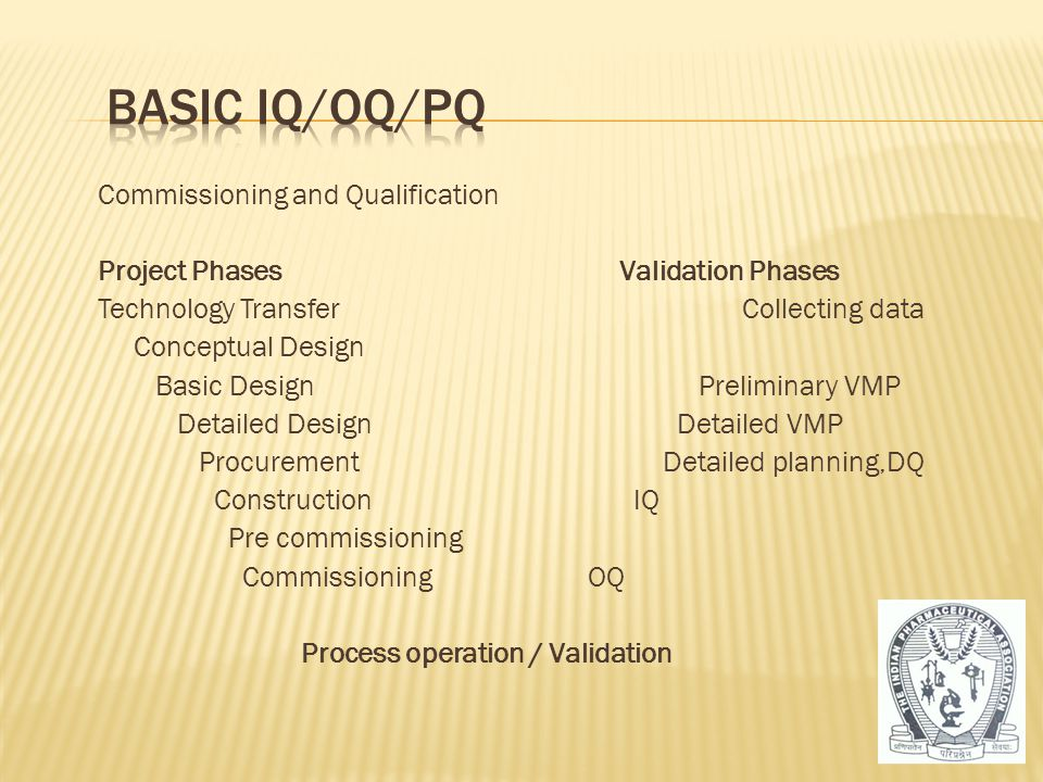 Commissioning and Qualification Project Phases Validation Phases Technology Transfer Collecting data Conceptual Design Basic Design Preliminary VMP De