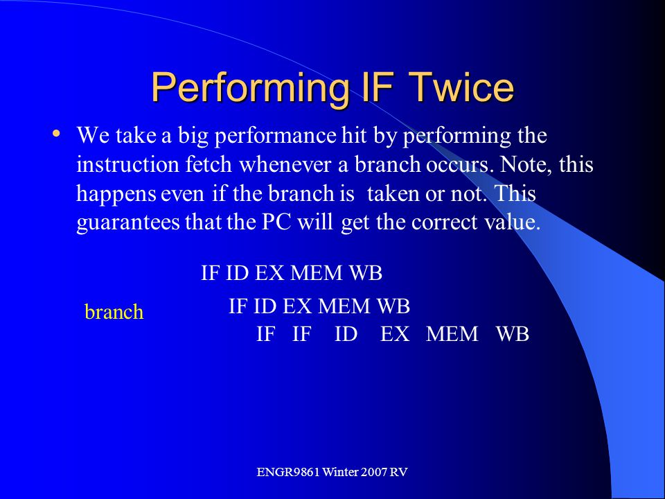 ENGR9861 Winter 2007 RV Performing IF Twice We take a big performance hit by performing the instruction fetch whenever a branch occurs. Note, this hap