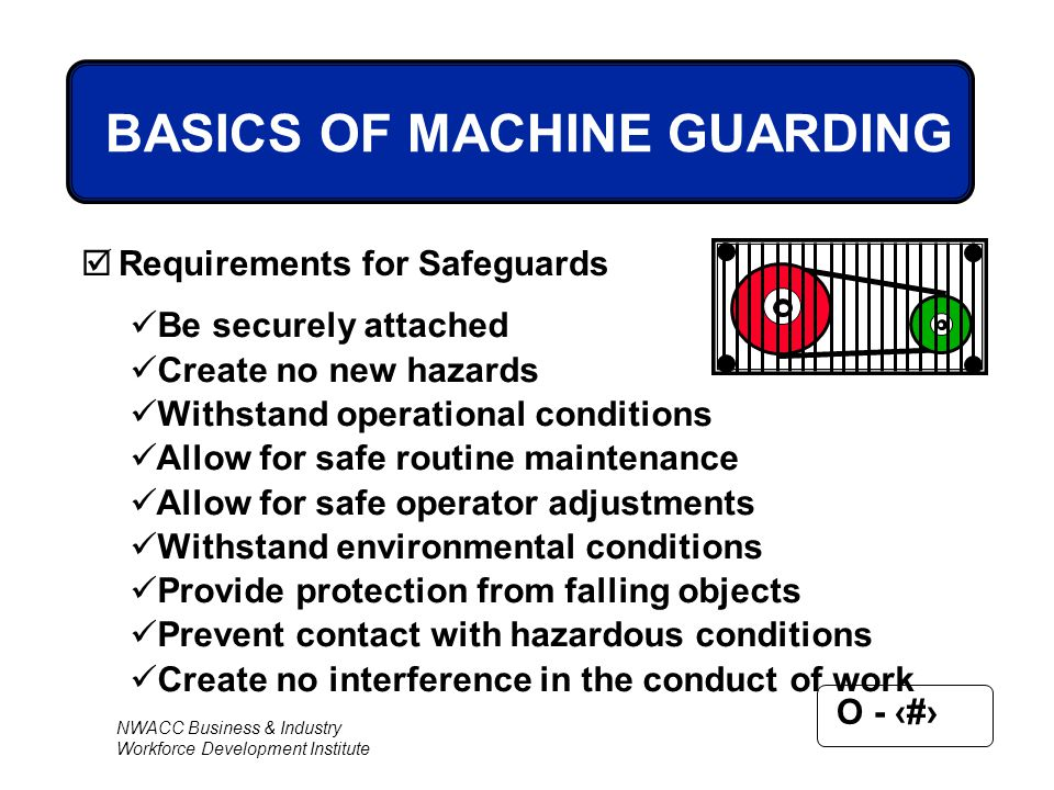 NWACC Business & Industry Workforce Development Institute O - 25 BASICS OF MACHINE GUARDING  Requirements for Safeguards Be securely attached Create