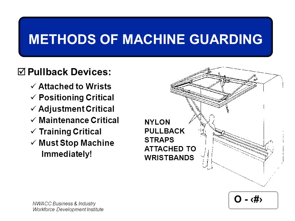 NWACC Business & Industry Workforce Development Institute O - 54 NYLON PULLBACK STRAPS ATTACHED TO WRISTBANDS METHODS OF MACHINE GUARDING  Pullback D