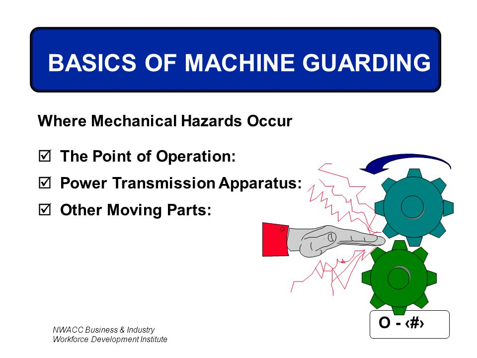 NWACC Business & Industry Workforce Development Institute O - 7 BASICS OF MACHINE GUARDING Where Mechanical Hazards Occur  The Point of Operation: 