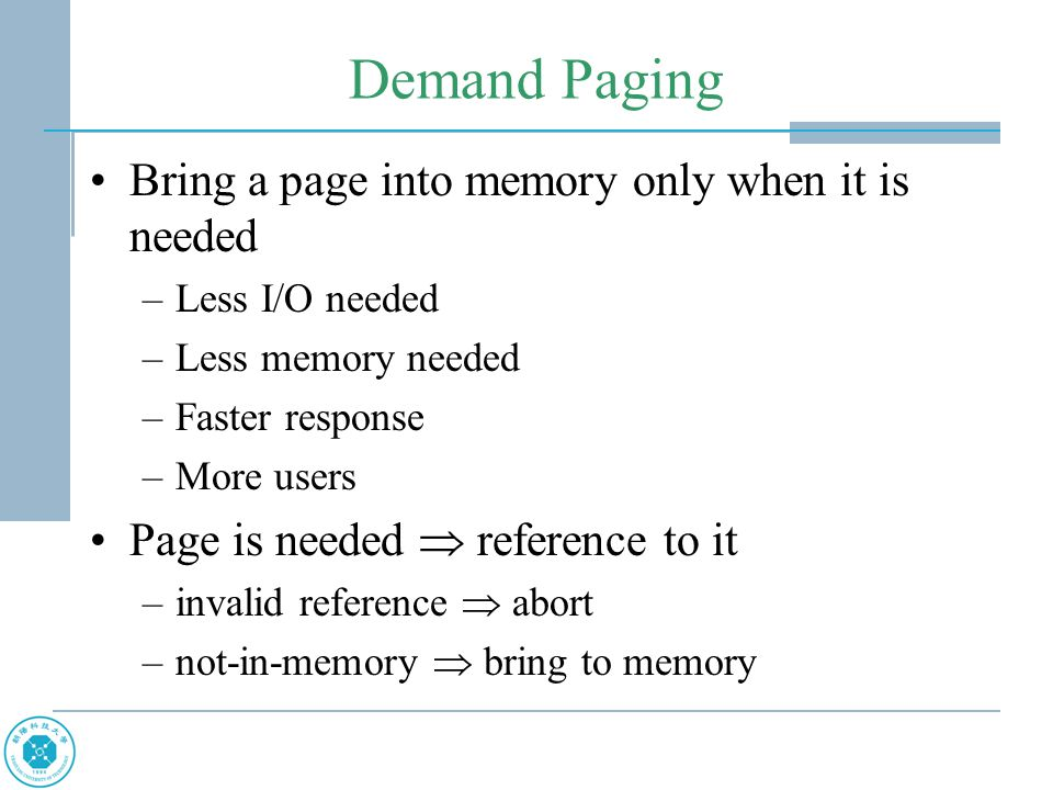 Thrashing If a process does not have enough pages, the page- fault rate is very high.