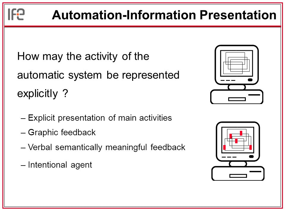 Automation-Information Presentation How may the activity of the automatic system be represented explicitly .
