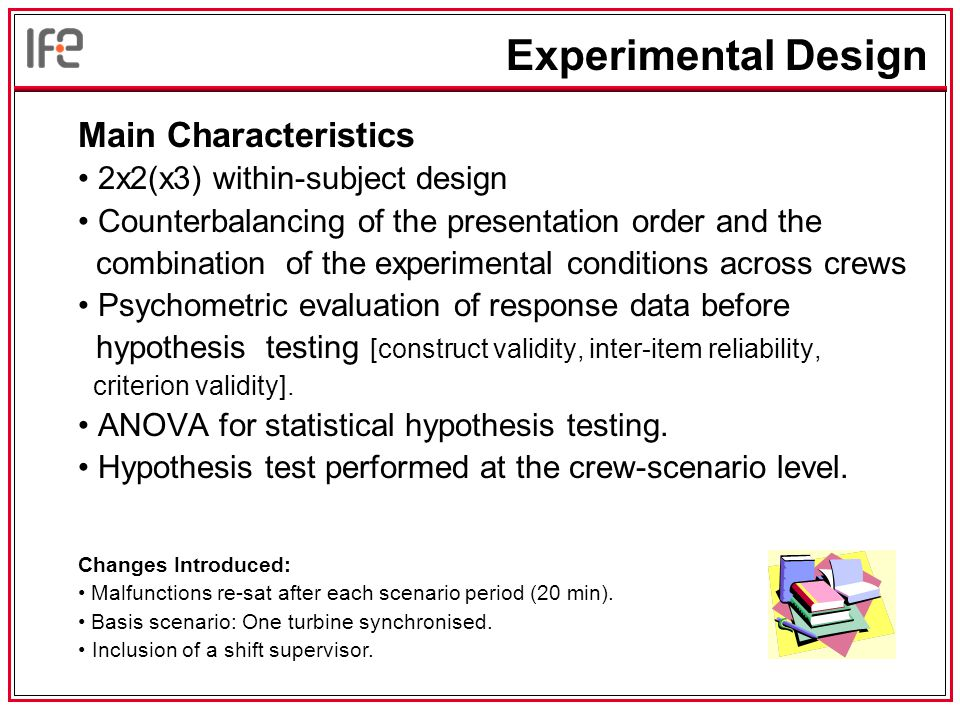 Main Characteristics 2x2(x3) within-subject design Counterbalancing of the presentation order and the combination of the experimental conditions across crews Psychometric evaluation of response data before hypothesis testing [construct validity, inter-item reliability, criterion validity].