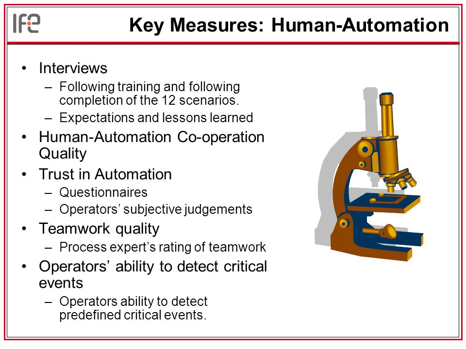 Key Measures: Human-Automation Interviews –Following training and following completion of the 12 scenarios.