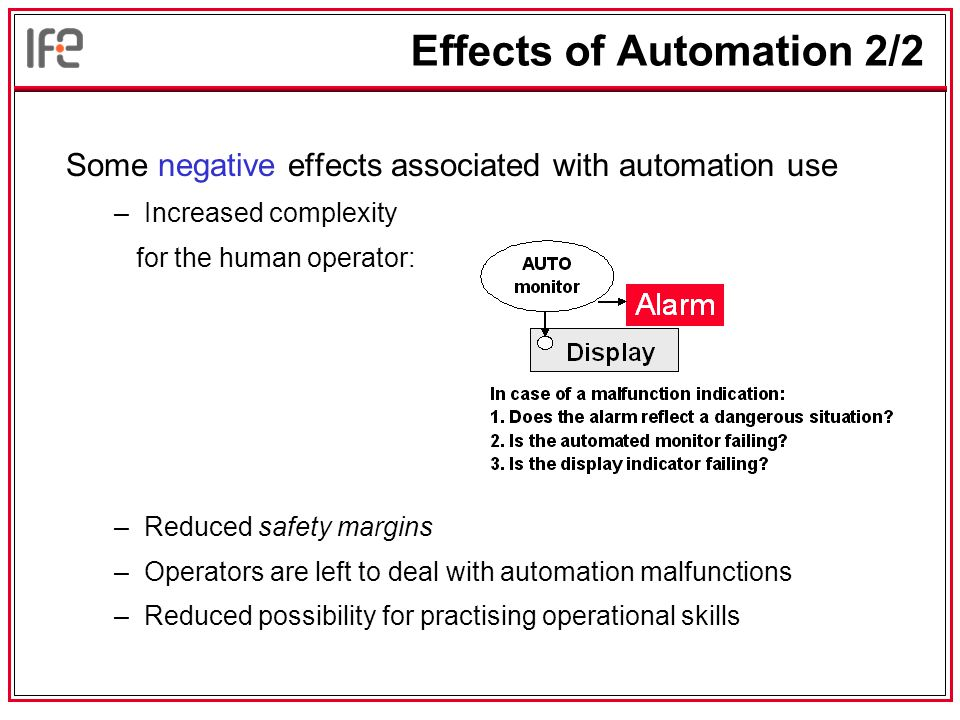 Effects of Automation 2/2 Some negative effects associated with automation use –Increased complexity for the human operator: –Reduced safety margins –Operators are left to deal with automation malfunctions –Reduced possibility for practising operational skills