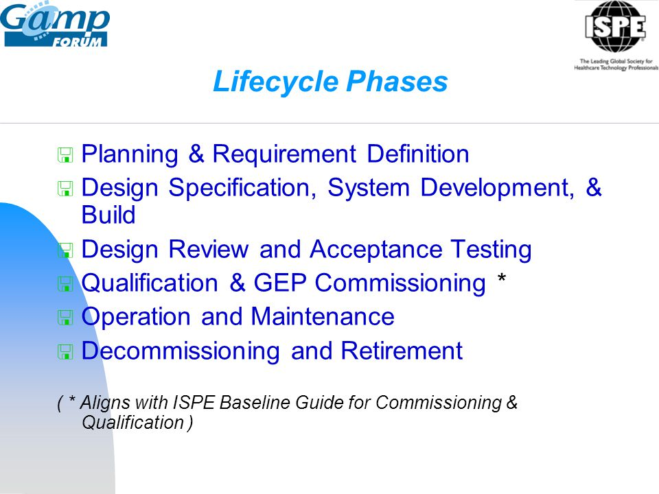 Lifecycle Phases  Planning & Requirement Definition  Design Specification, System Development, & Build  Design Review and Acceptance Testing  Qual
