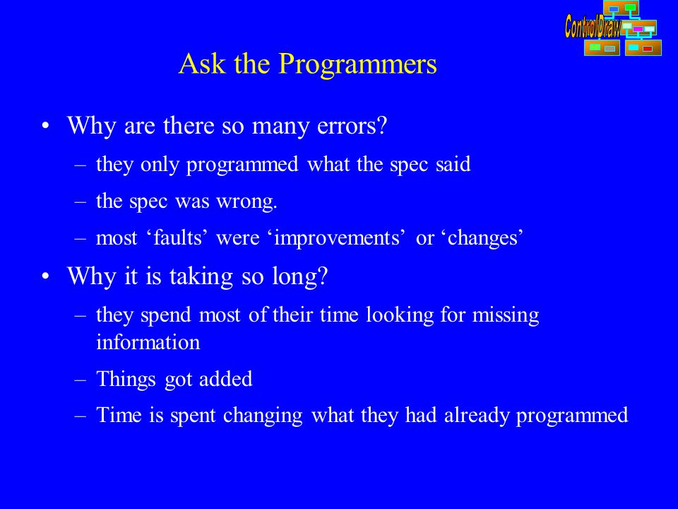 Ask the Programmers Why are there so many errors? –they only programmed what the spec said –the spec was wrong. –most 'faults' were 'improvements' or