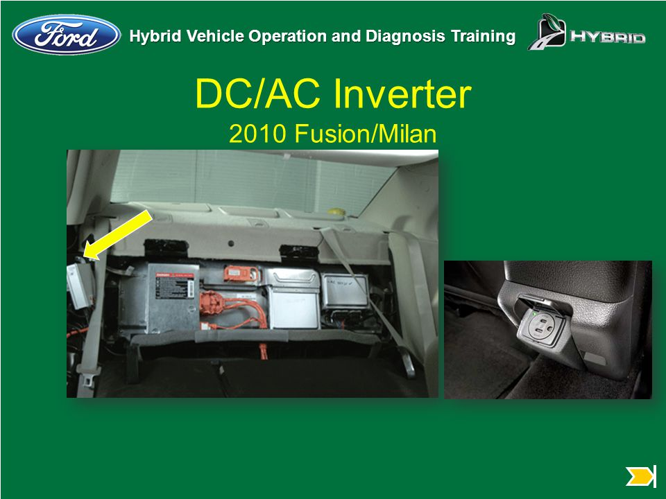 Hybrid Vehicle Operation and Diagnosis Training DC/AC Inverter 2010 Fusion/Milan