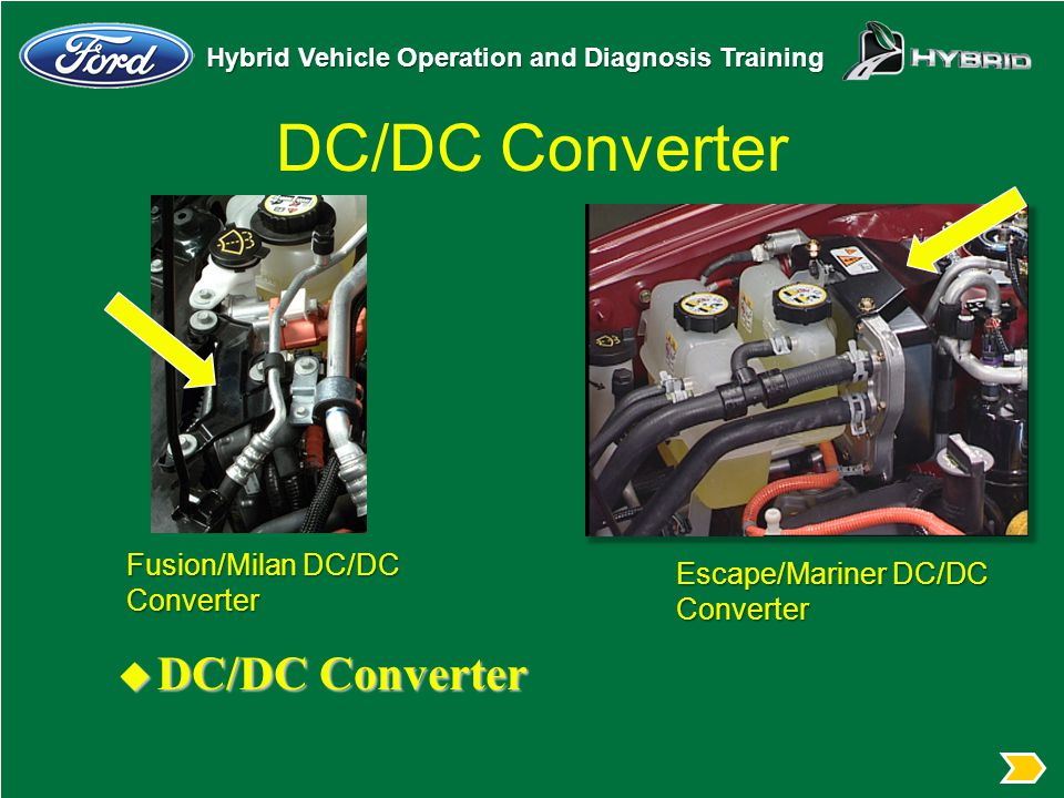 Hybrid Vehicle Operation and Diagnosis Training DC/DC Converter u DC/DC Converter Fusion/Milan DC/DC Converter Escape/Mariner DC/DC Converter