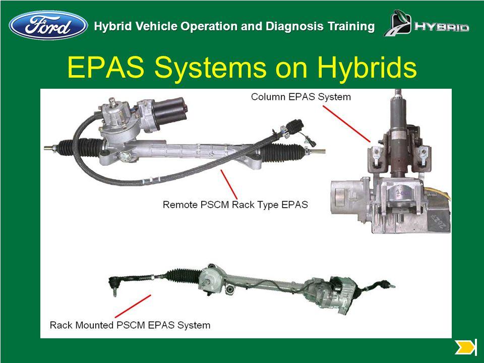Hybrid Vehicle Operation and Diagnosis Training EPAS Systems on Hybrids u Insert photos of EPAS systems
