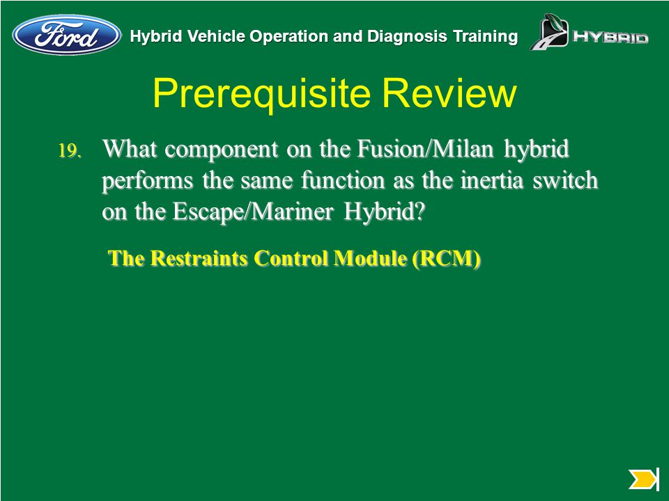 Hybrid Vehicle Operation and Diagnosis Training Prerequisite Review 19. What component on the Fusion/Milan hybrid performs the same function as the in