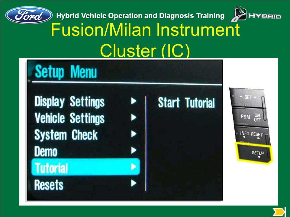 Hybrid Vehicle Operation and Diagnosis Training Fusion/Milan Instrument Cluster (IC) u Insert art of menu on IC