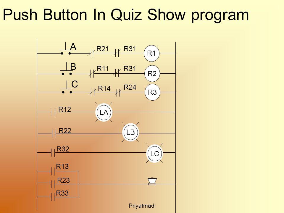 Priyatmadi Push Button In Quiz Show program R1 R11 A B R2 R21 LB R22 R32 R13 R23 LC LA R12 R3 R14 C R31 R24 R31 R33