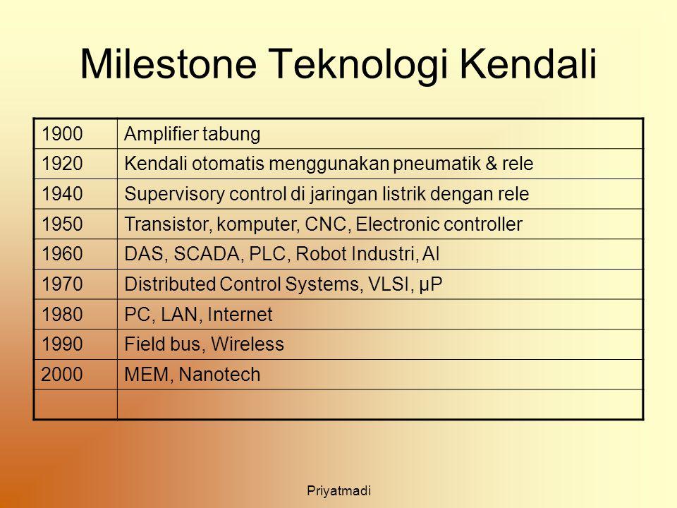 Priyatmadi Milestone Teknologi Kendali 1900Amplifier tabung 1920Kendali otomatis menggunakan pneumatik & rele 1940Supervisory control di jaringan list