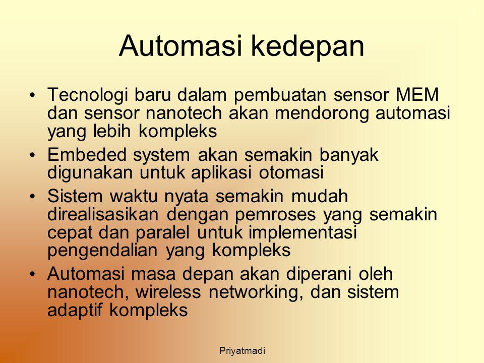 Priyatmadi Automasi kedepan Tecnologi baru dalam pembuatan sensor MEM dan sensor nanotech akan mendorong automasi yang lebih kompleks Embeded system a