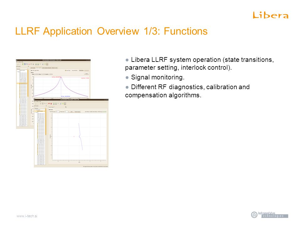 www.i-tech.si LLRF Application Overview 1/3: Functions ● Libera LLRF system operation (state transitions, parameter setting, interlock control).