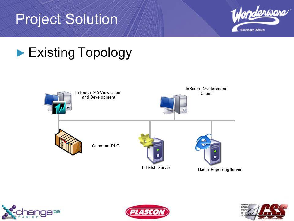 ► Existing Topology InTouch 9.5 View Client and Development InBatch Server Quantum PLC InBatch Development Client Batch ReportingServer