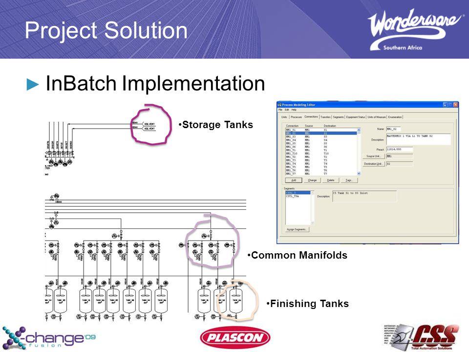 Project Solution ► InBatch Implementation Storage Tanks Common Manifolds Finishing Tanks